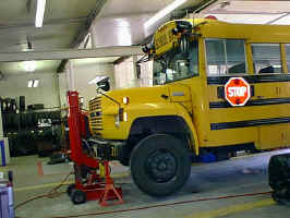 Fleet Maintenance working on a school bus